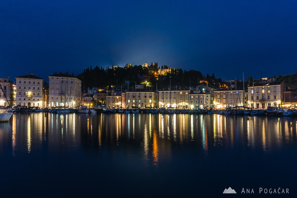 Piran during blue hour