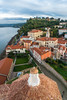 Piran from the church bell tower on a dramatic afternoon