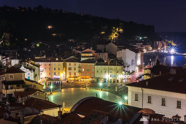 Piran's Tartini Square from the church hill before dawn