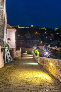 Piran's city walls from the church hill before dawn