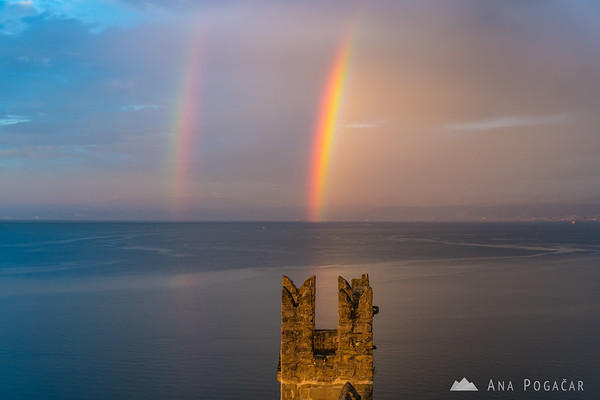 Piran from the city walls at sunset - and a double rainbow! :)