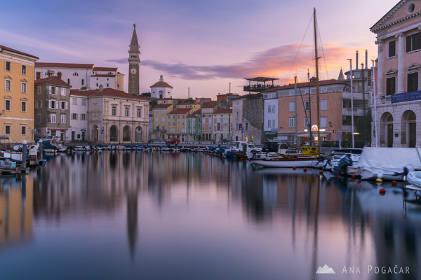 Piran during a pink sunrise