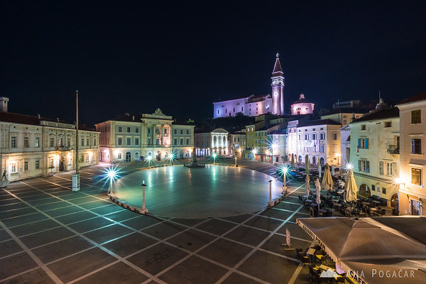 Tartini Square at night as seen from my hotel room