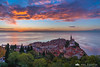 Piran from the city walls at sunset