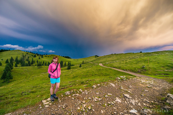 Stormy sunset clouds over Velika planina