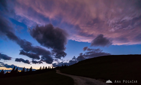 Clouds above Velika planina after sunset