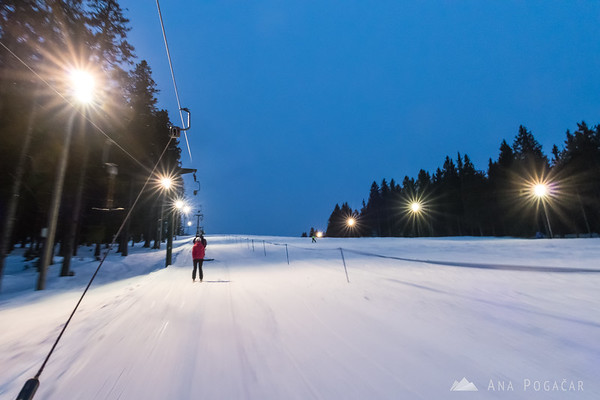Night skiing on Rogla