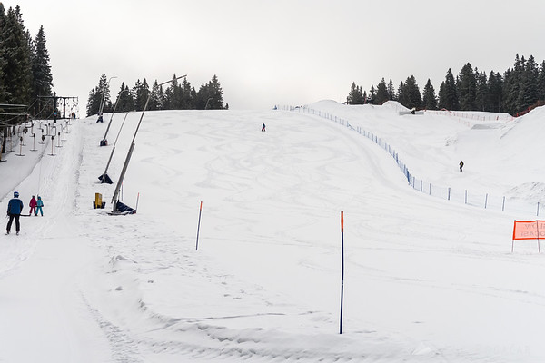 Skiing in fresh snow on Rogla