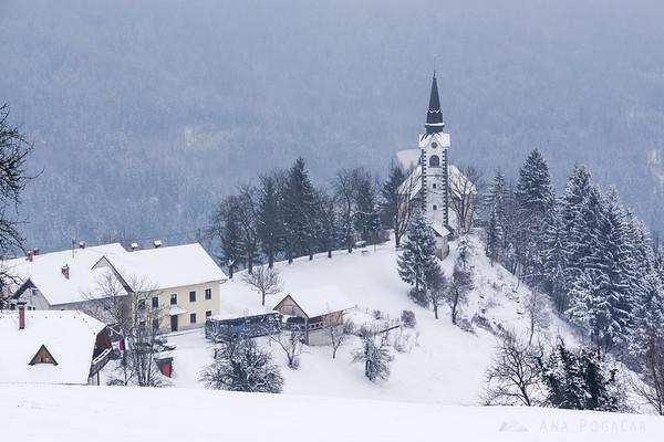 Village of Javorje in snow
