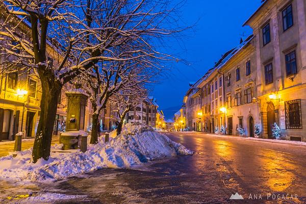 Škofja Loka in snow during blue hour