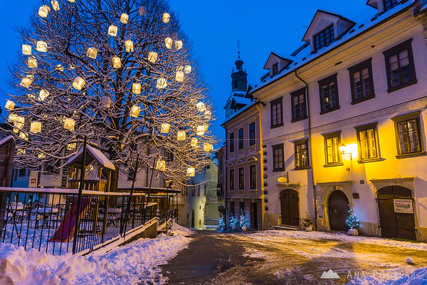 Škofja Loka in snow during blue hour