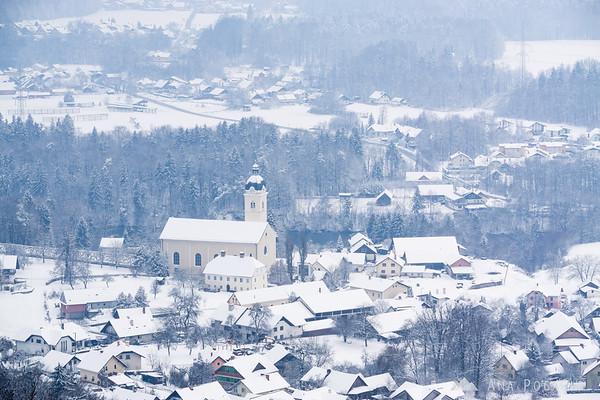 Church in Smlednik from the Smlednik castle