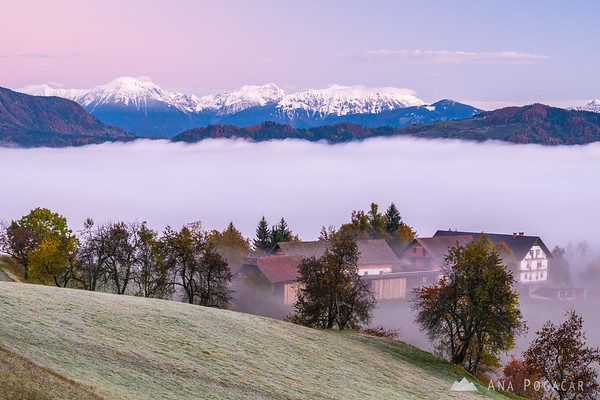 The Karavanke range  above the fog at dawn