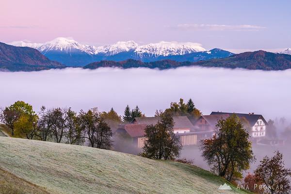 The Karavanke range  above the fog at dawn