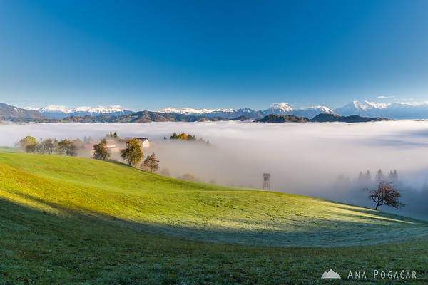 Views of both the Karavanke range and the Kamnik Alps
