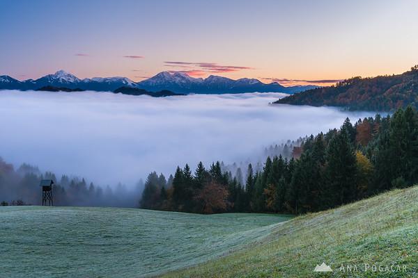 Views towards the Kamnik Alps at sunrise