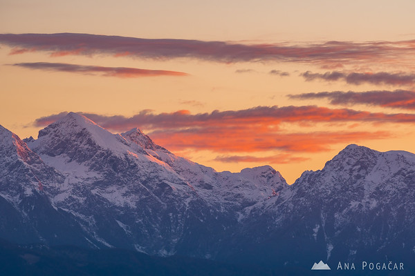 The Kamnik Alps at sunrise