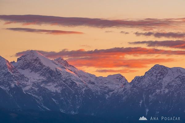 The Kamnik Alps at sunrise