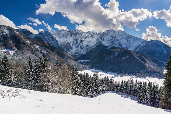 Jezersko and the Kamnik Alps from Rakeževa planina in winter