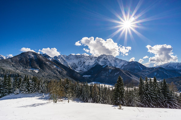 Jezersko and the Kamnik Alps from Rakeževa planina in winter