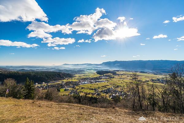 Views toward Begunje from the St. Peter hill