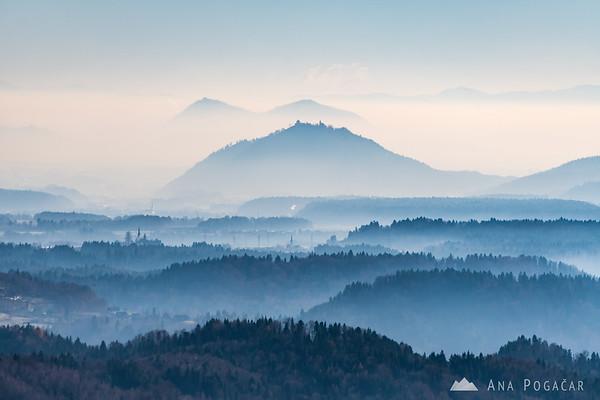 Šmarjetna gora and Šmarna gora from St. Peter hill above Begunje