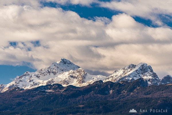 The Julian Alps with Mts. Triglav and Rjavina from St. Peter hill above Begunje