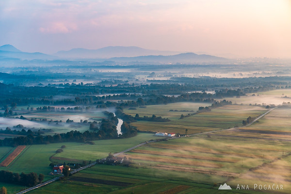 Views across Ljubljana Marshes from St. Ana hill at sunrise