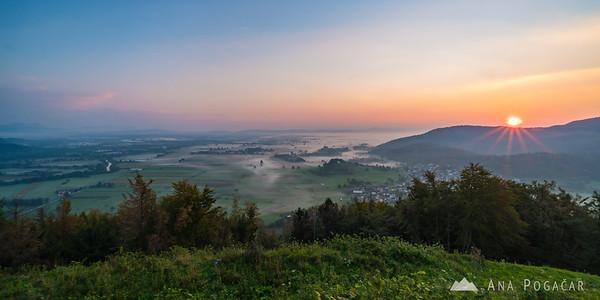 Ljubljana Marshes from St. Ana hill at sunrise