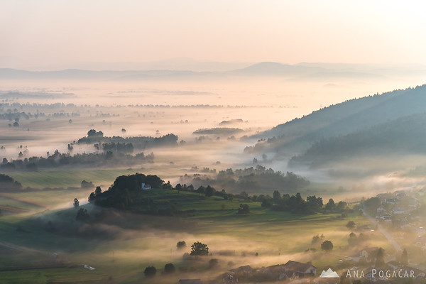 Ljubljana Marshes from St. Ana hill at sunrise