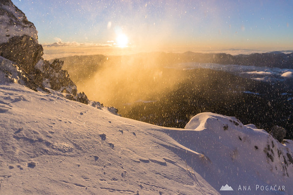 Winter ascent to Mt. Viševnik - windy!