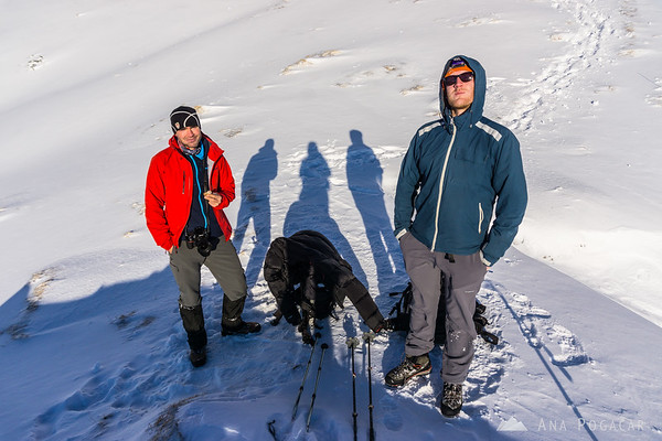 Winter ascent to Mt. Viševnik - the merry trio after thawing up.
