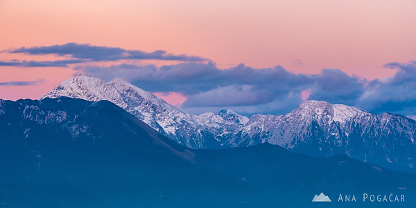 The Kamnik Alps at sunset from Jamnik