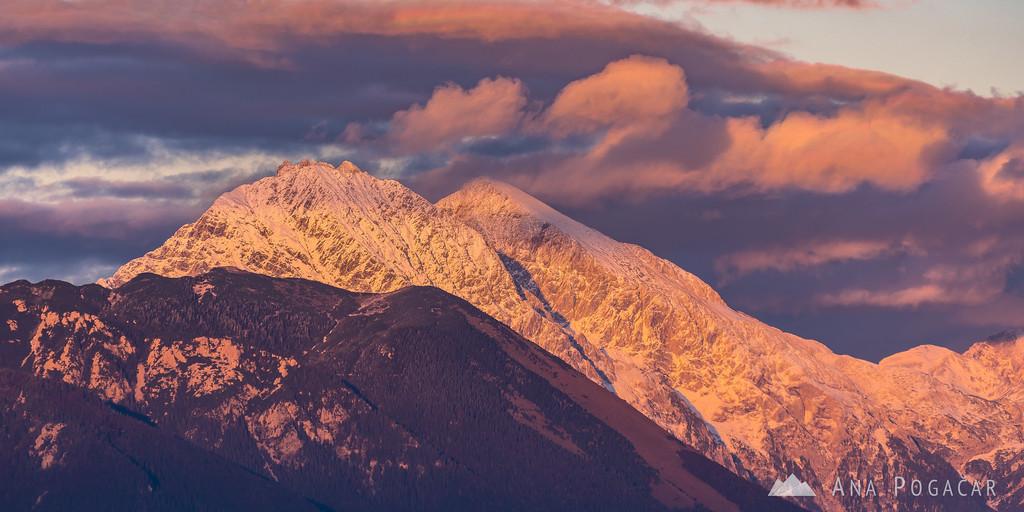 The Kamnik Alps at sunset from Jamnik