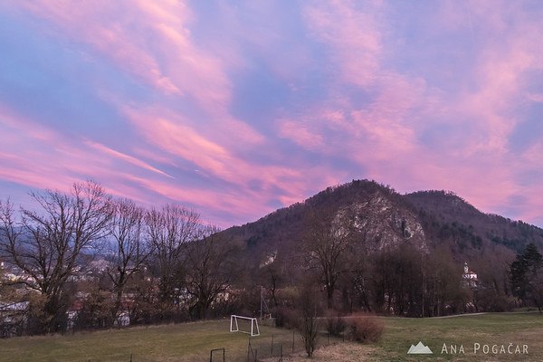 Pink winter sunset from Žale, Kamnik