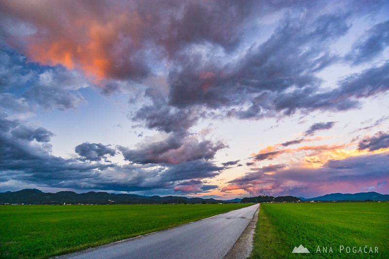 Intense sunset over the Kamnik Alps as seen from the fields between Kamnik and Mengeš