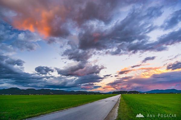 Intense sunset over the Kamnik Alps as seen from the fields between Kamnik and Mengeš
