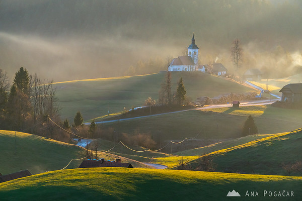 Church in Hlevni vrh in the sweet late afternoon light