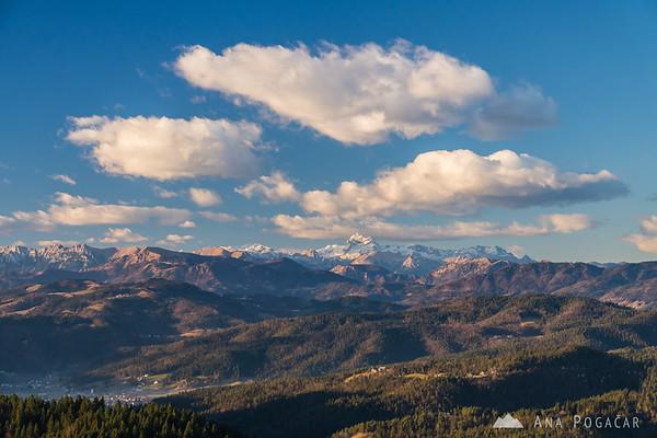 Views of the Julian Alps from Vrh svetih treh kraljev