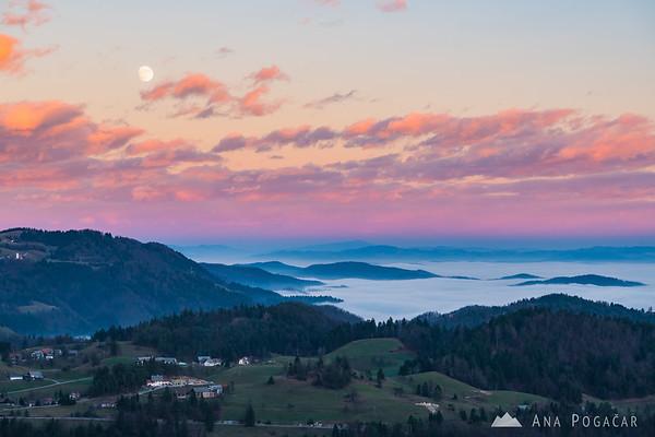 Views toward Horjul from Smrečje in the Polhograjski hribovje hills