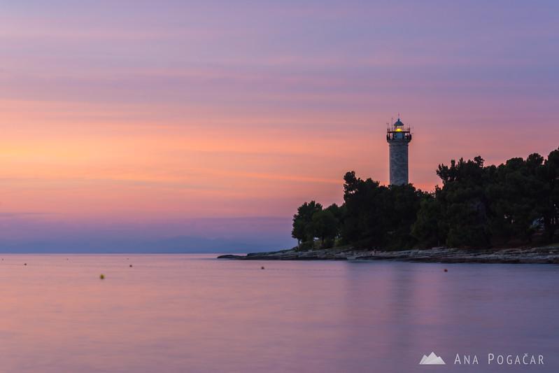 Lighthouse in Savudrija at sunset