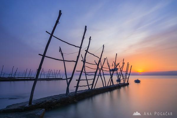 Sunset at the piers in Savudrija