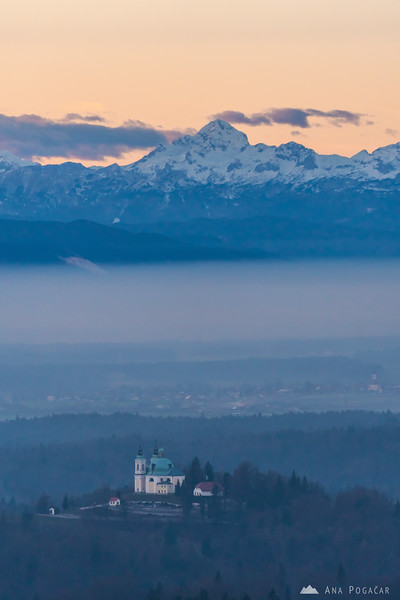 St. Ana church in Tunjice and Mt. Triglav from Stari grad hill