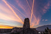 Stari grad ruins and contrails at sunset