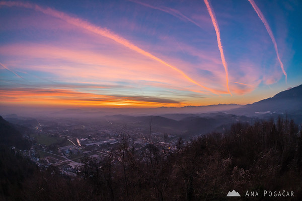 Views of Kamnik from Stari grad, and contrails at sunset
