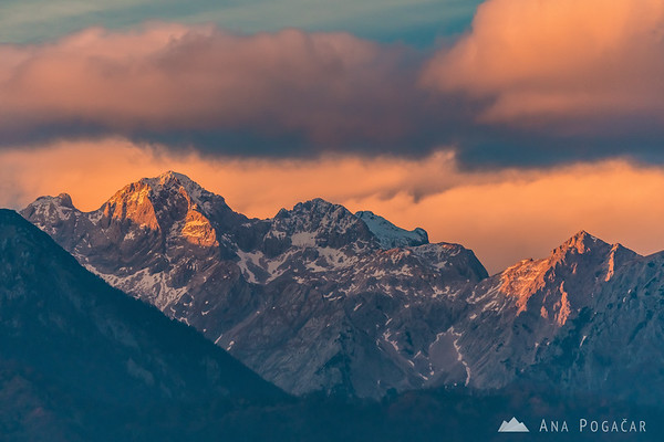 The Kamnik Alps at sunset: Štruca, Skuta, Rinke, Turska gora