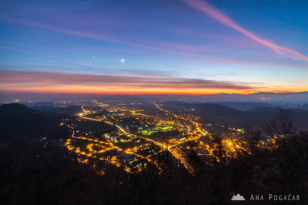 Kamnik from Stari grad after sunset