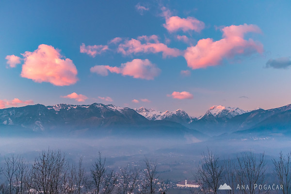 The Kamnik Alps from Stari grad at sunset