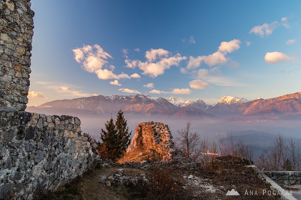 Views of the Kamnik Alps from Stari grad ruins on a smoggy afternoon