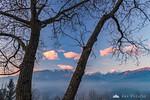 The Kamnik Alps from Stari grad at sunset